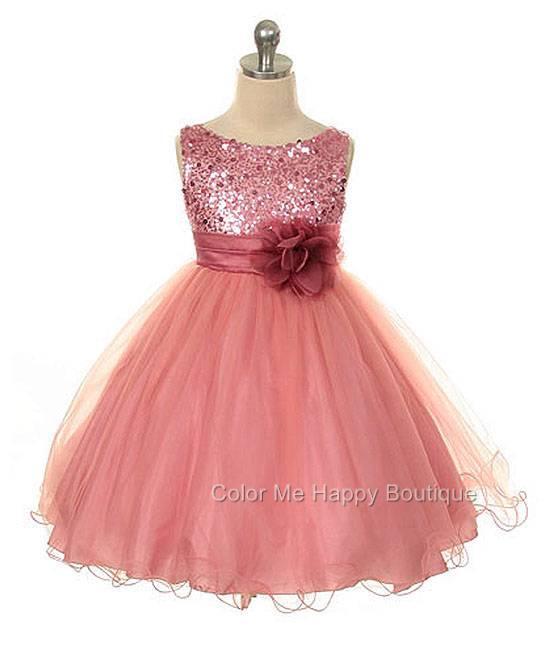 Sequin Bodice Mesh Skirt Flower Sleeveless Dress Dusty Rose Girls 2-14