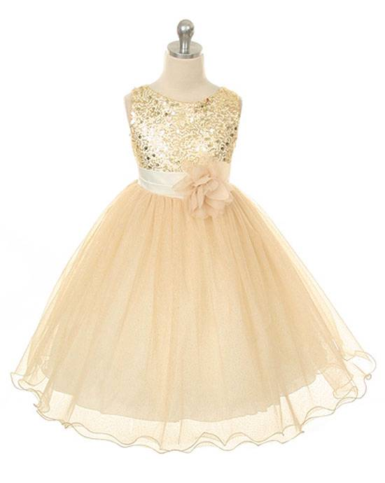 Sequin Bodice Mesh Skirt Flower Sleeveless Dress Gold Girls 2-14