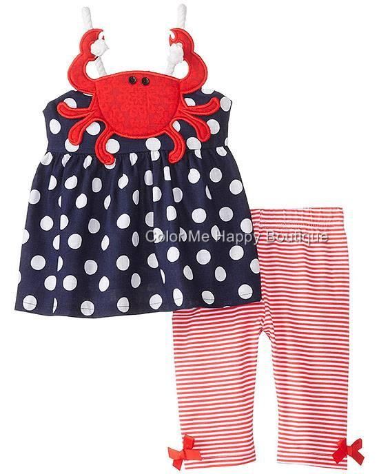 new boutique mud pie navy dot crab tunic set