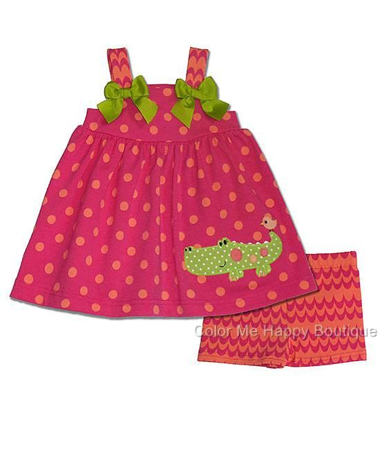 New Toddler Girls Boutique Peaches N Cream Sz 4T Alligator