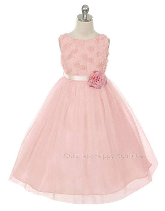 Bonaz Bodice Tulle Skirt Flower Sleeveless Dress Dusty Pink Girls 2-12