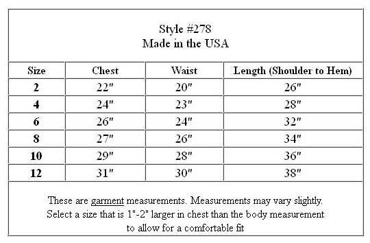 Bonaz Bodice to Tulle Skirt Dress M278 Size Chart