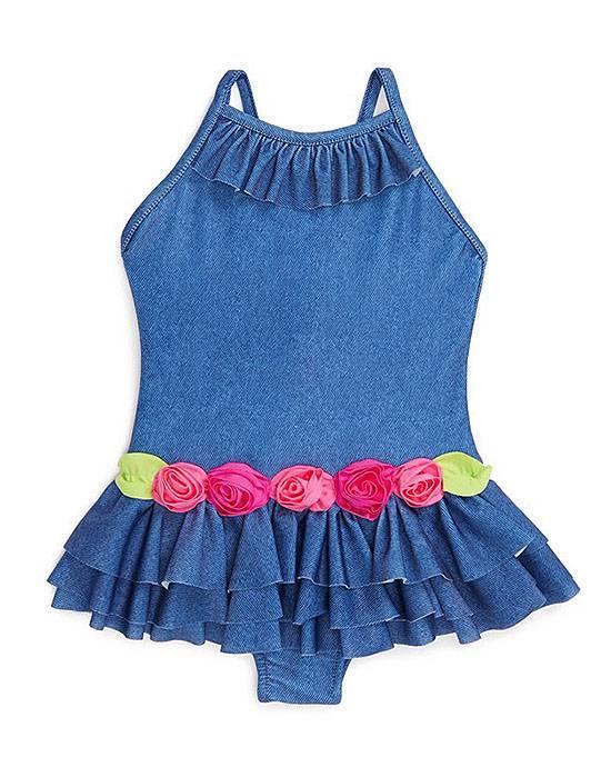Mulberribush Love U Lots Denim Flower 1-pc Swimsuit TODDLER Girls 2T-4T