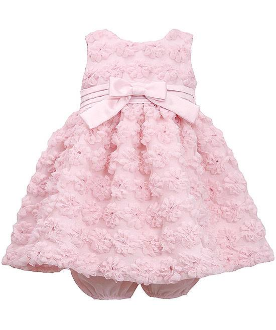 Bonnie Jean Light Pink Mesh Flowers Bonaz Dress BABY Girls 12m-24m