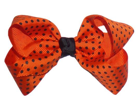 "Orange Black Mini Dots Knot Grosgrain Ribbon Hair Bow 3"""