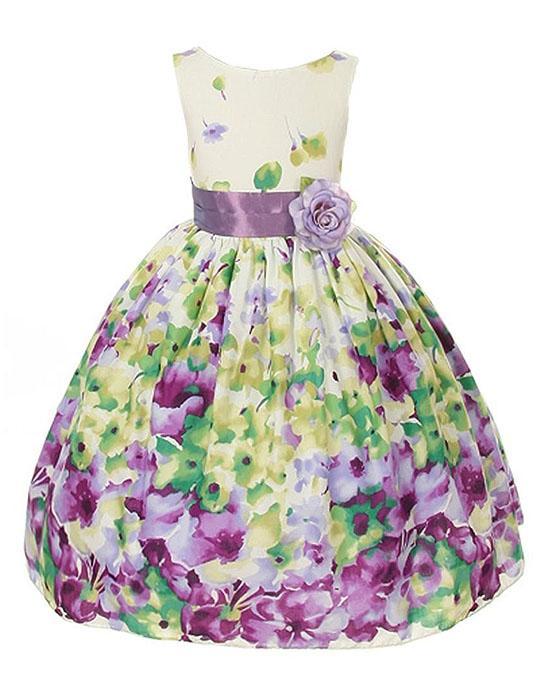 Floral Watercolor Border Print Cotton Dress Lavender Purple Girls 2-12