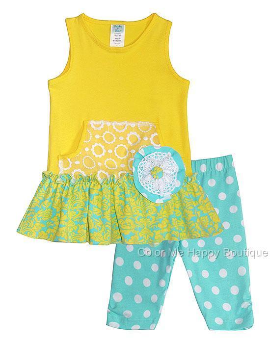 Peaches n Cream Yellow Aqua BUTTERCUPS Capri set TODDLER Girls 2T-4T