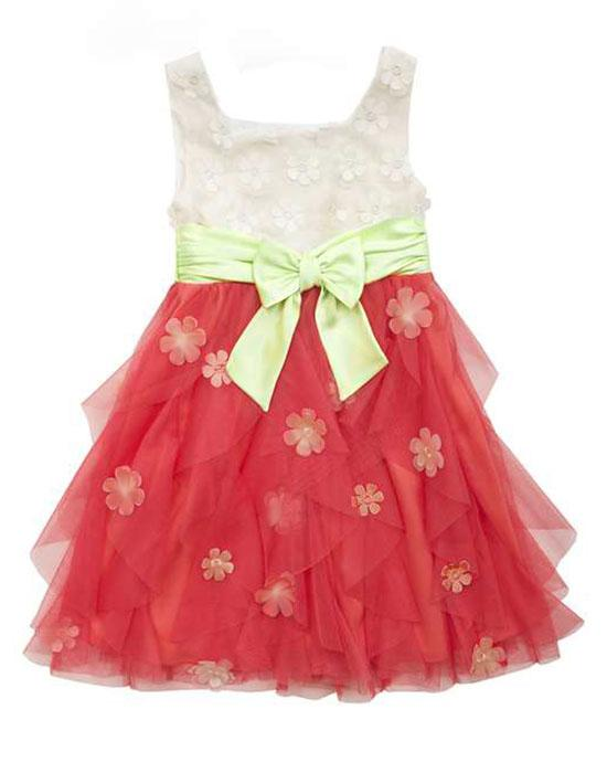 Rare Editions Ivory Coral Lime 3-D Flowers Cascade Mesh Ruffle Dress Girls 7-16
