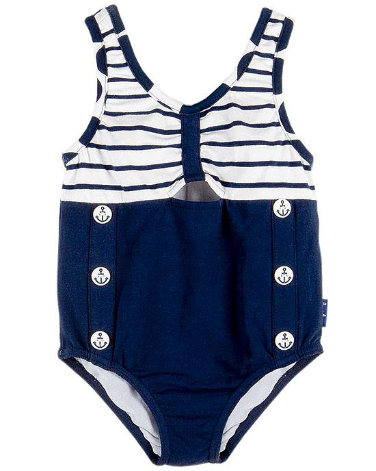 Le Top SAIL AWAY Navy Stripe Nautical Buttons Swimsuit Girls 4-6x