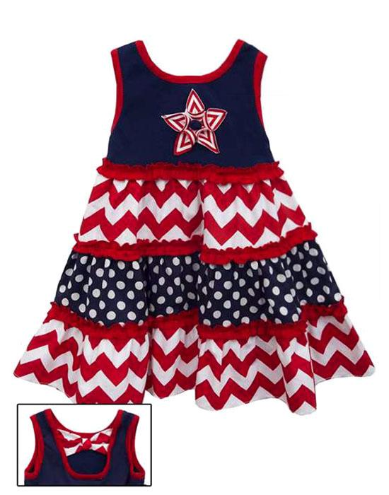 Rare Editions Navy Red STAR Mixed Print Tiered Dress BABY Girls 12m-24m