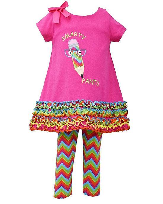 Bonnie Jean Fuchsia Pencil SMARTY PANTS Leggings set BABY Girls 12m-24m