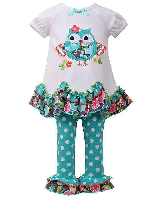 Bonnie Jean Ivory Aqua OWL Ruffle Leggings set BABY Girls 12m-24m