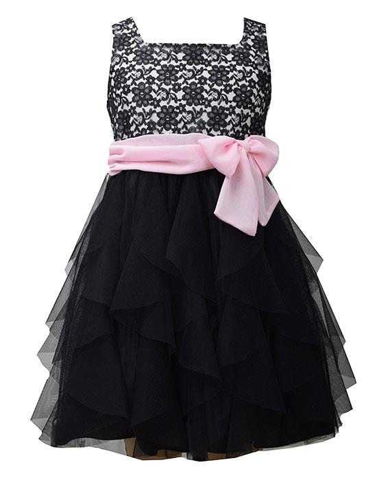 Bonnie Jean Black Pink Lace Cascade Mesh Ruffle Dress Girls 7-16