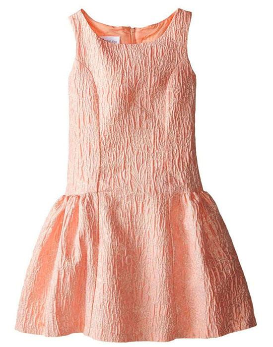 Bonnie Jean Coral Gold Metallic Brocade Bow Back Dress Girls 7-16