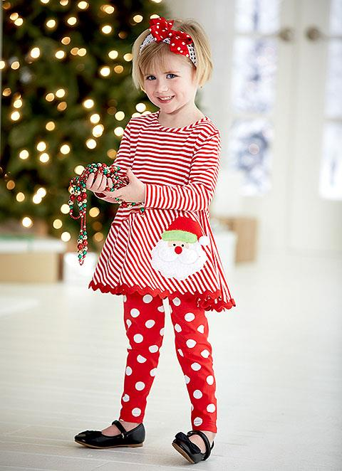 New Girls Boutique Peaches n Cream sz 2T Red SANTA BABY