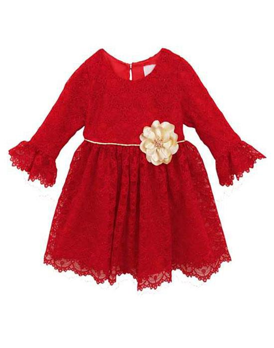 Rare Editions Red Gold Flower Sparkle Lace Dress TODDLER