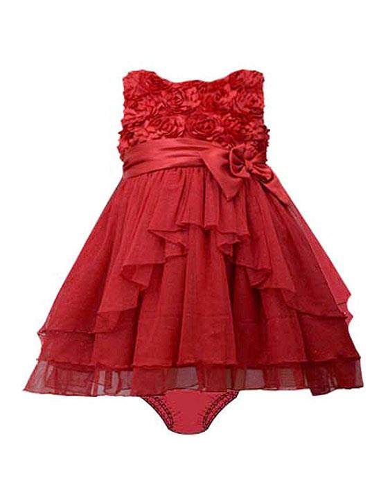 Bonnie Jean Red Bonaz Satin Bow Sparkling Mesh Dress BABY Girls 0-9m