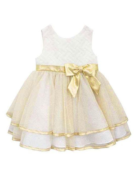 Rare Editions Ivory Gold Sparkle Basket Weave Dress BABY