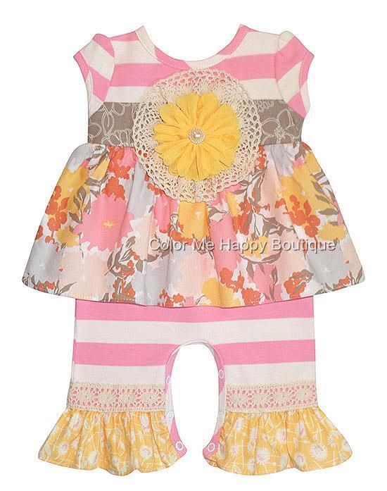 Peaches n Cream Sweet Nothings Pink Yellow Stripe Romper