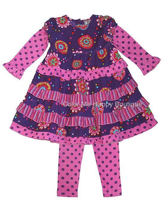Cotton Kids Purple Pink Tiered Corduroy Dress Leggings set Girls 4-6x