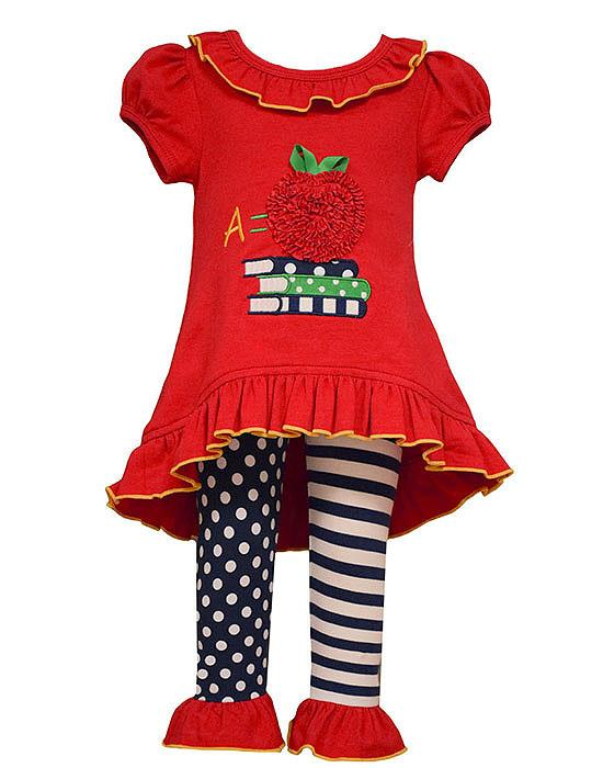 Bonnie Jean Red A is for APPLE Hi-Low Tunic Leggings set TODDLER Girls 2T-4T