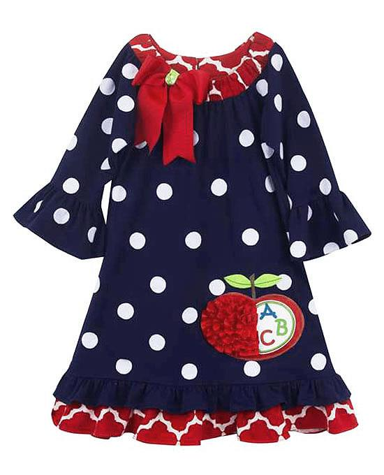 Rare editions girls 2t 4t navy blue white eyelet bow front nautical