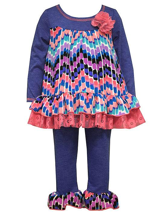 Bonnie Jean Blue Coral Lace Chiffon GEO Leggings set Girls 4-6x