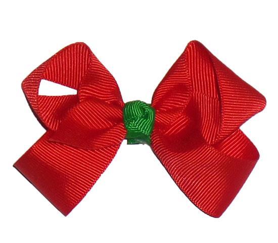 "Red Green Knot Grosgrain Ribbon Hair Bow 3"""