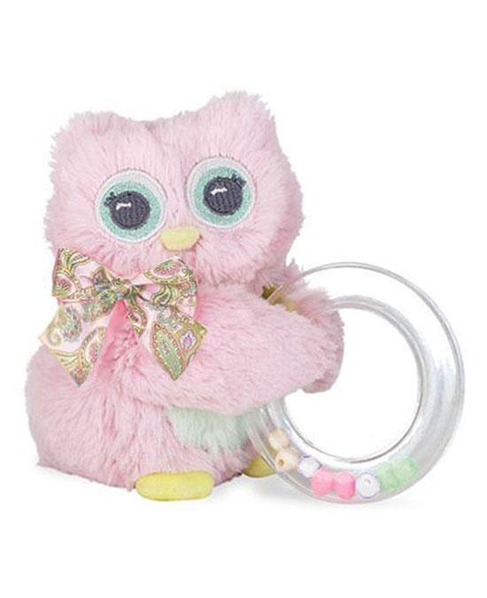 "Bearington Baby Lil' Hoots Pink OWL Shaker Rattle 5"""