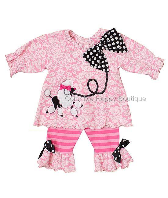 Peaches n Cream Pink POODLE PARTY Tunic Leggings set BABY Girls 12m-24m