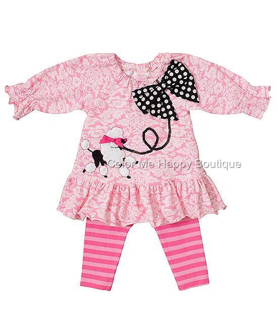 42a4c0d222 Peaches n Cream Pink POODLE PARTY Tunic Leggings set TODDLER Girls 2T-4T