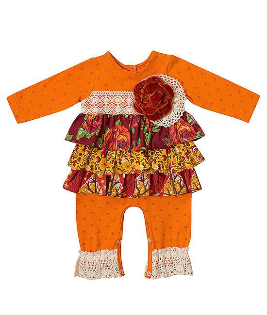 Peaches n Cream Orange Amber Crochet Lace Tiered Romper BABY Girls 0-9m