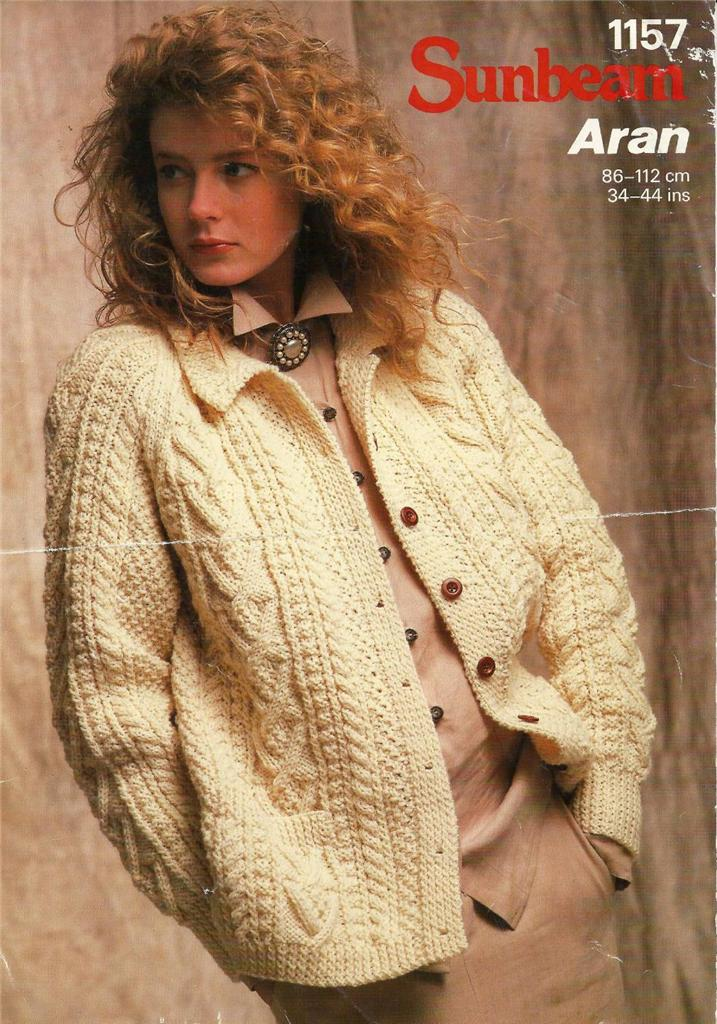 Traditional Aran Knitting Patterns : Sunbeam Aran Knitting Pattern 1157 Traditional Vintage Aran Jacket 34