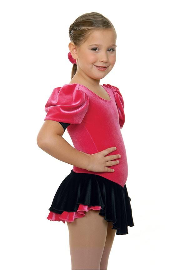 New-Princess-Black-Fuschia-Velvet-Skating-Dress-C-6X-7