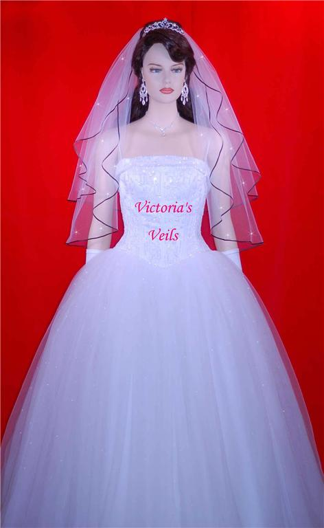 discount wedding veils with black ribbon