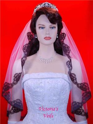 "28"" Black Lace Mantilla Wedding Bridal veil L3"