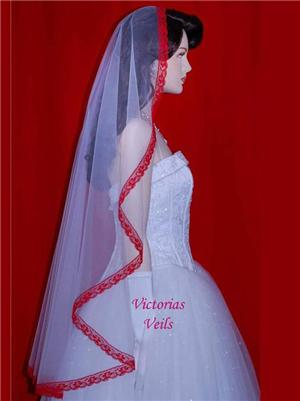 "WEDDING APPLE RED LACE BRIDAL MANTILLA VEIL 45"" M5"