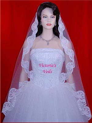 "45"" WHITE WEDDING BRIDAL MANTILLA VEIL M11"