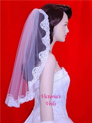 "25"" White Mantilla Wedding Bridal Veil  L1"