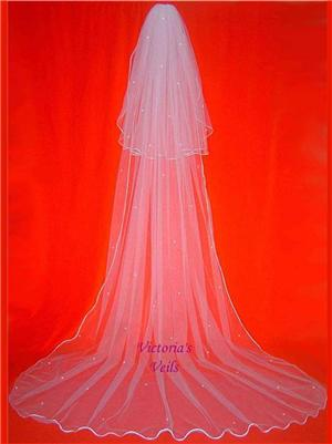 2 TIERS CATHEDRAL SWAROVSKI PEARL WEDDING BRIDAL VEIL 53P3