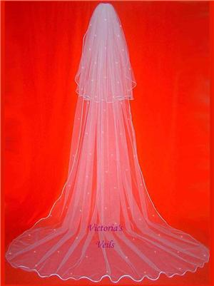 2 TIER CATHEDRAL BRIDAL WEDDING VEIL SWAROVSKI CRYSTAL  53R3