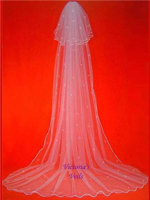 2 TIER CATHEDRAL BRIDAL WEDDING VEIL SWAROVSKI CRYSTAL 61R3