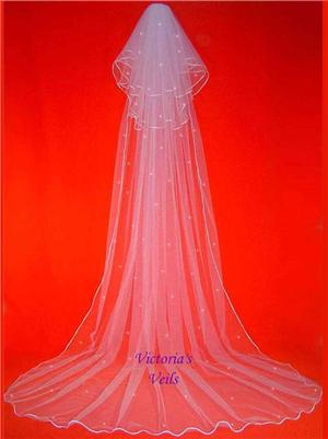 3 TIER CATHEDRAL BRIDAL WEDDING VEIL SWAROVSKI CRYSTAL 62R3
