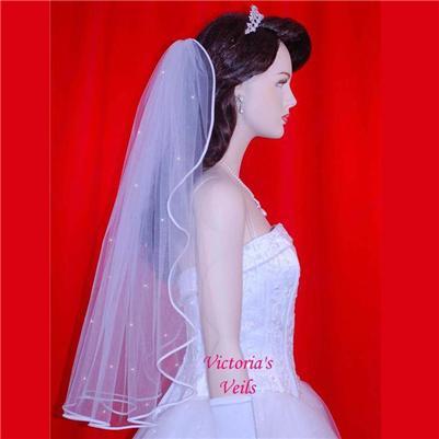 Bridal Veil 1 Tier Swarovski Rhinestones 30''  5R3