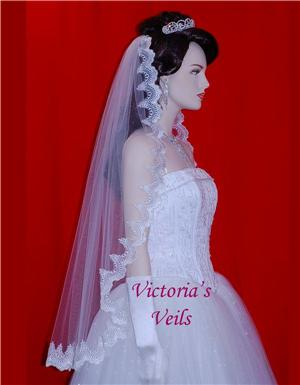 "38"" DIAMOND WHITE MANTILLA LACE BRIDAL VEIL  L14"