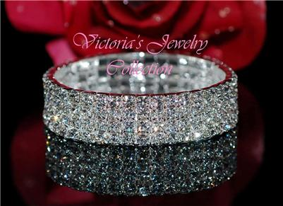 4 Row Swarovski Crystal Fashion Wedding Bridal Prom Bracelet 2B4