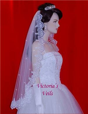 "MANTILLA LACE BRIDAL WEDDING VEIL BEADED WHITE 35"" L8R"