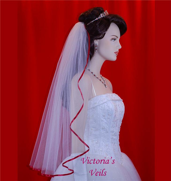 Bridal Veil Apple Red Ribbon trim