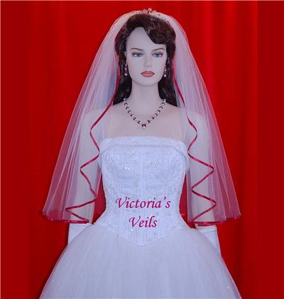 "Apple Red bridal Wedding veil 30""  48-2"