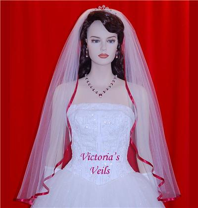 "Apple Red Bridal Wedding Veil 36"" 49-5"